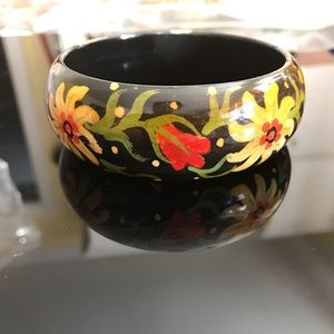 Vintage wooden bangle hand painted 70-80s